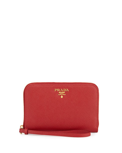 Saffiano iPhone Wristlet Wallet, Red (Fuoco)