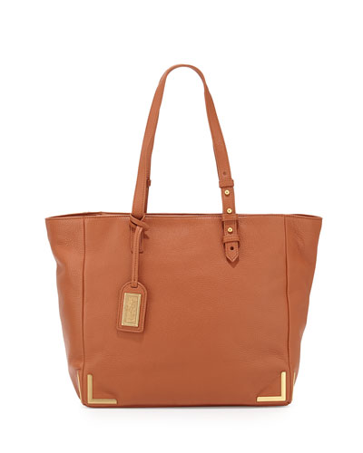 Linda Soft Pebble Leather Tote Bag, Cognac