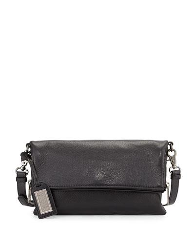 Brynn Fold-Over Leather Crossbody Bag, Black