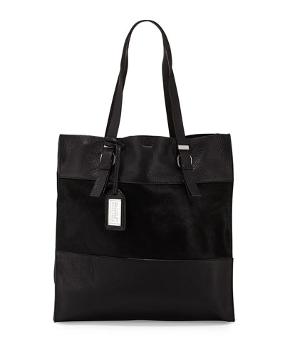 Liv Calf-Hair/Leather Tote Bag, Black