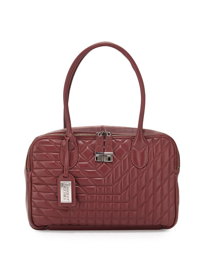 Coralie Leather Satchel Bag, Burgundy