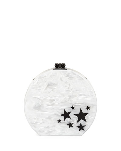 Oscar Star Cluster Clutch Bag, White/Black