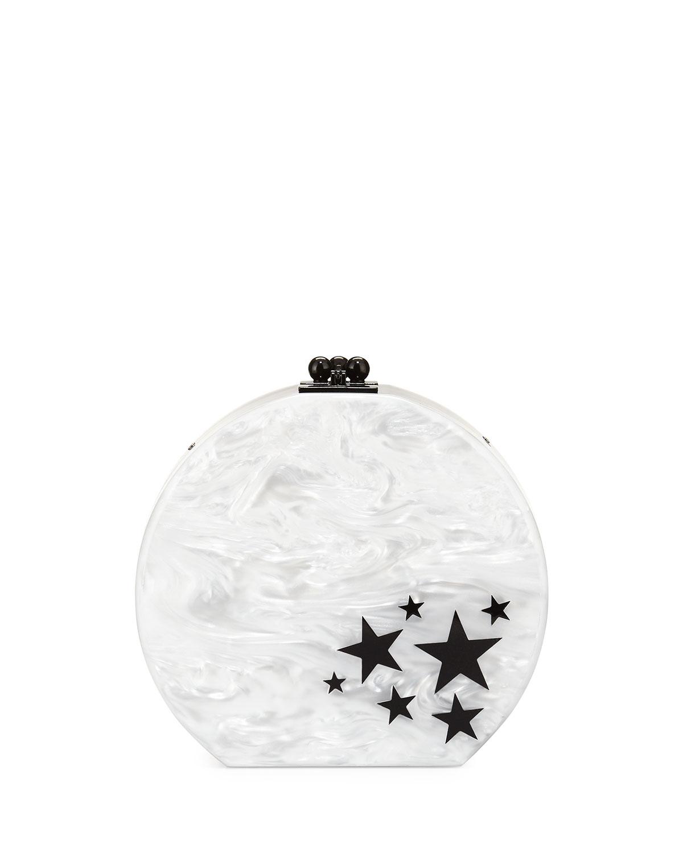 Oscar Star Cluster Clutch Bag, White/Black