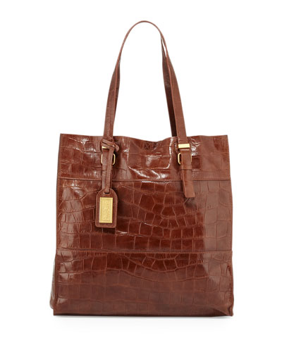 Liv Crocodile-Embossed Leather Tote Bag, Cappuccino