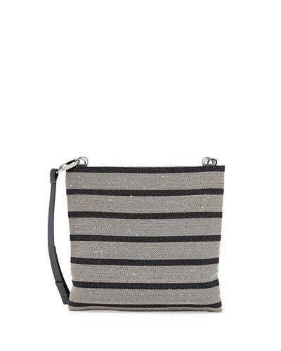 Striped Monili Leather Crossbody Bag, Black/Silver