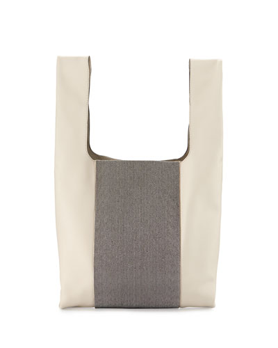 Monili-Stripe Leather Shopper Tote Bag, Vanilla