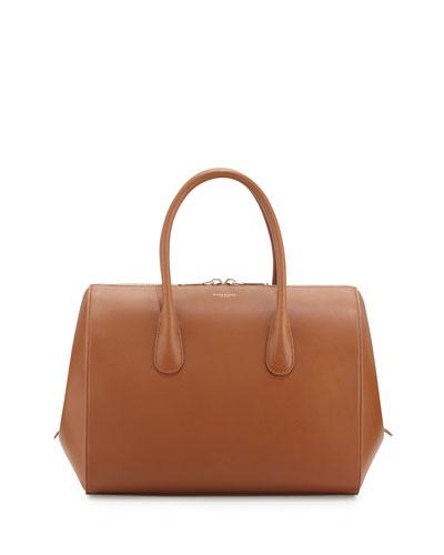 Yukali Calfskin Bowler Bag, Camel