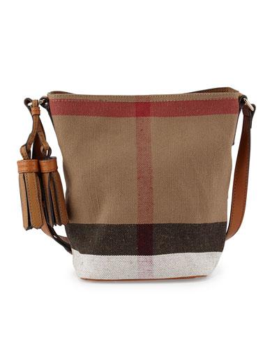 Ashby Canvas Check Crossbody Bag, Saddle Brown