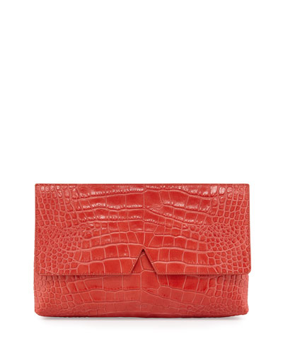 Signature V Crocodile-Embossed Clutch Bag, Sienna