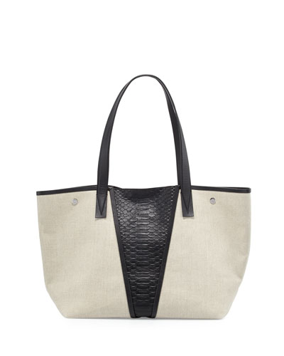 Modern V Medium Linen/Python-Embossed Tote Bag, Natural