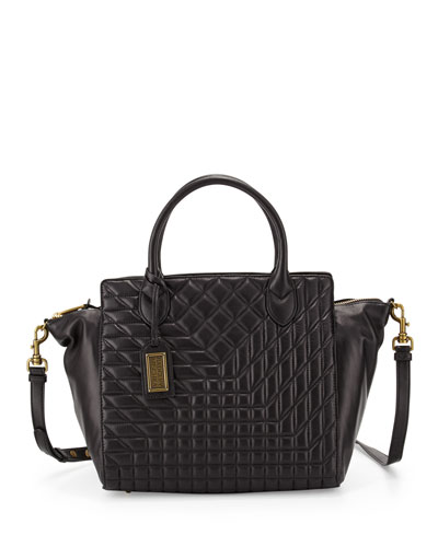 Coralie Quilted-Leather Satchel Bag, Black