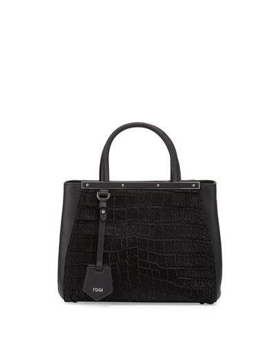2Jours Petite Croc-Embossed Calf Hair Satchel Bag, Black