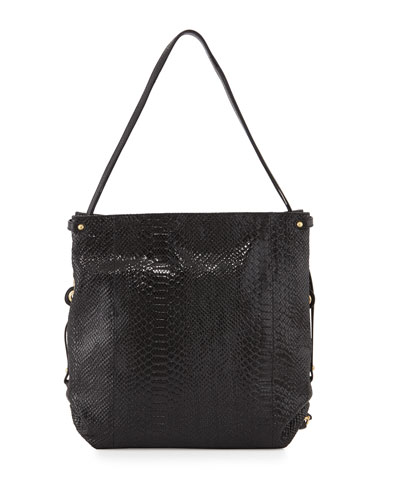 Jessica Embossed-Leather Shoulder Bag, Black