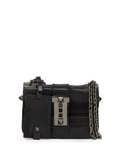 B-Rockstud Leather Shoulder Bag, Black