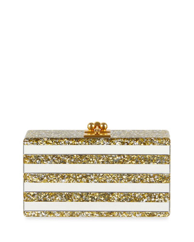 Jean Confetti-Striped Box Clutch Bag, Gold/Silver