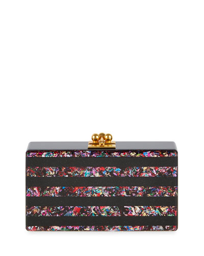 Jean Confetti-Striped Box Clutch Bag, Obsidian/Rainbow