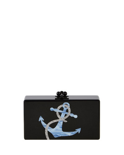 Jean Anchor Clutch Bag, Obsidian/Sand