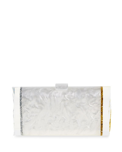 Lara Acrylic Ice Clutch Bag, White/Silver/Gold