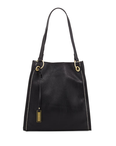 Montana Faux-Leather Tote Bag, Black