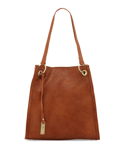 Montana Faux-Leather Tote Bag, Chocolate