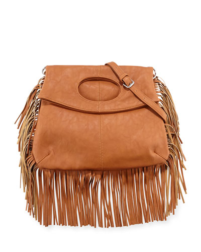 Style Icon Faux-Leather Shoulder Bag, Tan