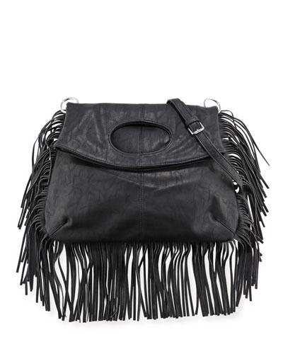 Style Icon Faux-Leather Shoulder Bag, Black