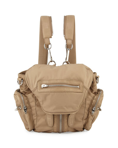 Mini Marti Nylon Backpack, Khaki/Nickel