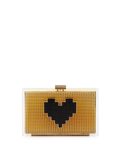Grace Lolita Heart Clutch Bag, Gold