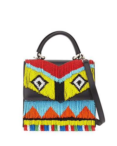 Alex Mini Fringe Beaded Crossbody Bag, Black