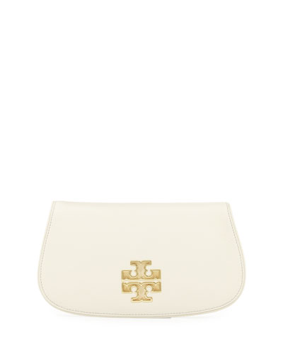 Britten Leather Flap Clutch Bag, New Ivory