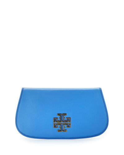 Britten Leather Flap Clutch Bag, Blue Dusk