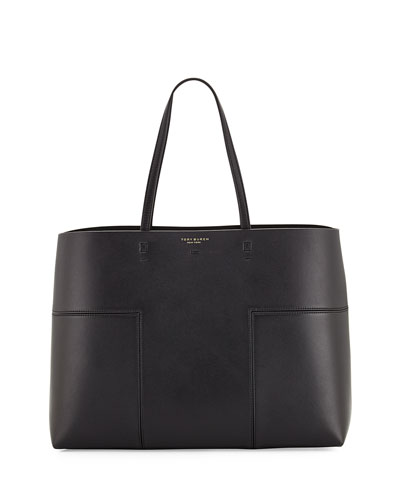 Block-T Leather Tote Bag, Black