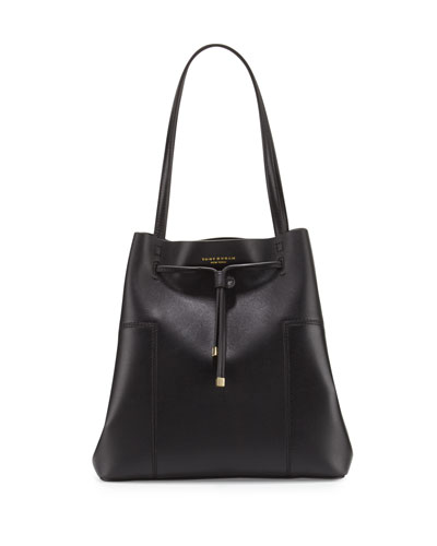 Block-T Leather Bucket Tote Bag, Black