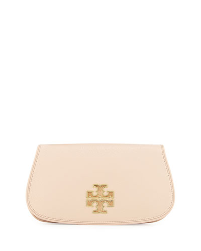 Britten Leather Flap Clutch Bag, Light Oak