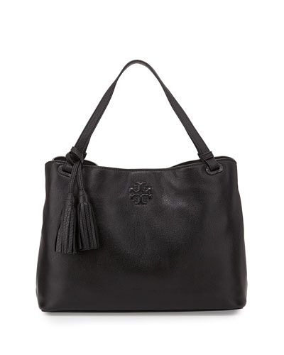 Thea Center-Zip Tote Bag, Black
