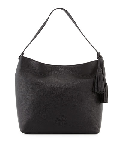 Thea Leather Hobo Bag, Black