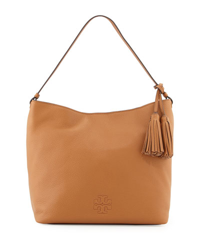 Thea Leather Hobo Bag, Bark