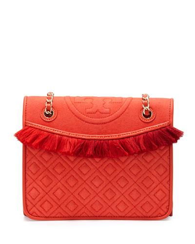 Fleming Canvas Medium Shoulder Bag, Poppy Red