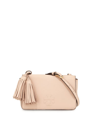 Thea Mini Leather Crossbody Bag, Pale Apricot