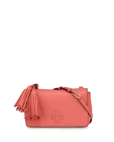 Thea Mini Leather Crossbody Bag, Spiced Coral