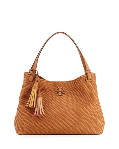 Thea Woven Leather Tote Bag, Peanut