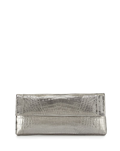 Gotham Crocodile Flap Clutch Bag, Anthracite Mirror