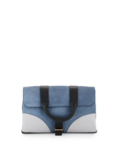 Hanne Suede & Leather Clutch Bag, Dark Plexi