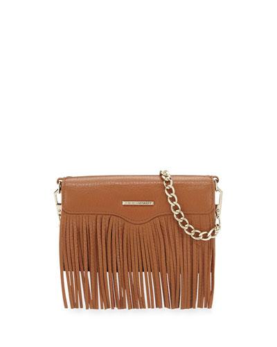 Universal Fringe Leather Crossbody Bag, Almond
