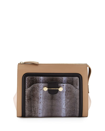 Daphne Watersnake & Leather Clutch Bag, Birch