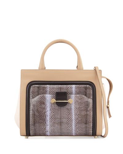 Daphne Watersnake & Leather Crossbody Tote Bag, Birch