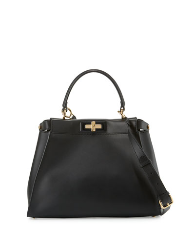 Peekaboo Medium Satchel Bag, Black