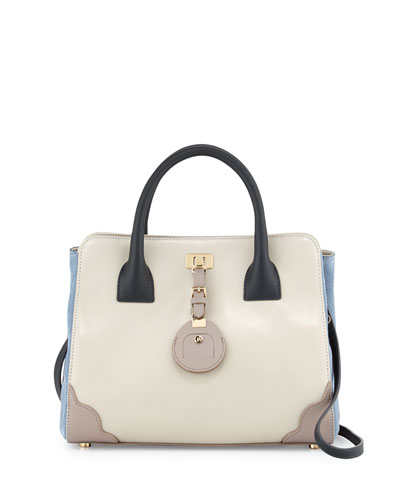 Jourdan Petite Leather Tote Bag, Plaster
