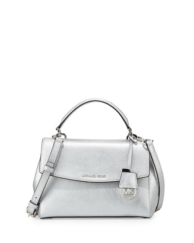 Ava Small Metallic Leather Satchel Bag, Silver
