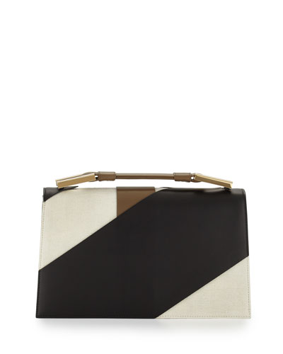 Charlotte Origami Canvas & Leather Evening Clutch Bag, Natural/Black